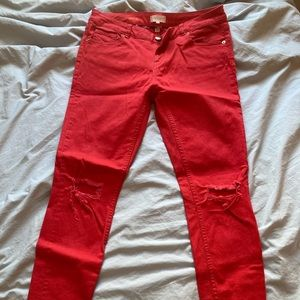 Red Ted Baker Ripped Skinny Jeans